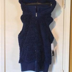 Kensie women's dark blue sherpa hooded vest hoody